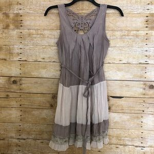 Papaya Beige Butterfly Cutout Knee Length Dress